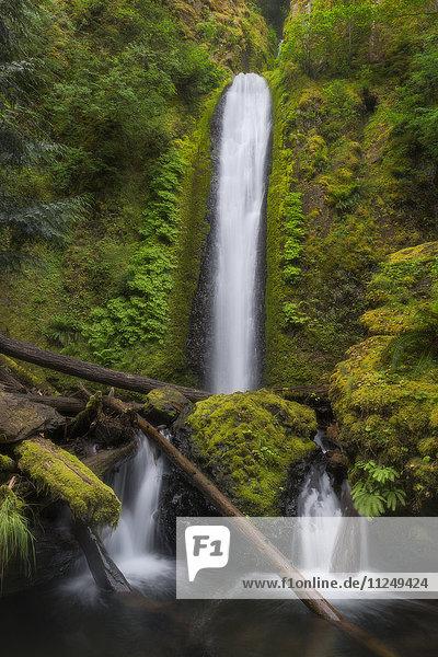 Waterfall among moss overgrown rocks