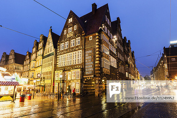 Bremen Market Square during rainy evening Bremen  Germany