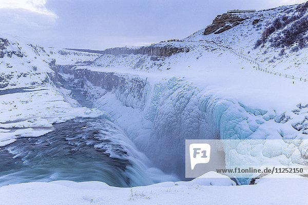 Gullfoss waterfall in winter time  south western Iceland Europe
