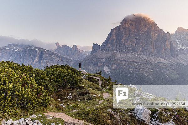 First lights on the mount Tofana di Rozes Cortina d'Ampezzo Belluno district Veneto Italy Europe