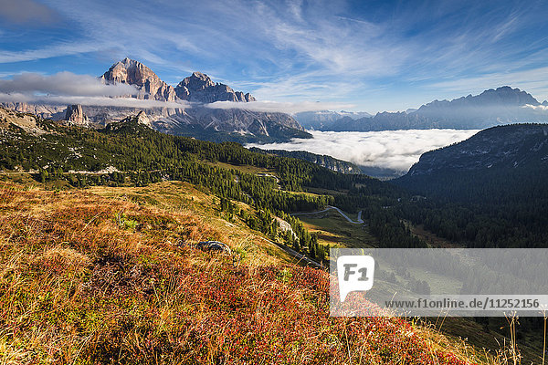 View of Tofane and Cristallo groups from Giau pass Cortina d'Ampezzo Belluno district Veneto Italy Europe