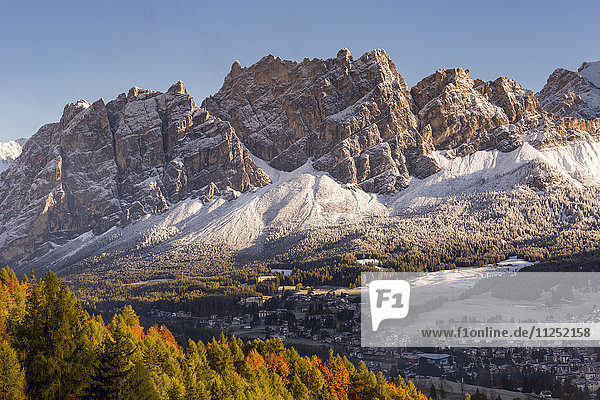 Cortina d'Ampezzo and mount Pomagagnon with the first snow Belluno district Veneto Italy Europe