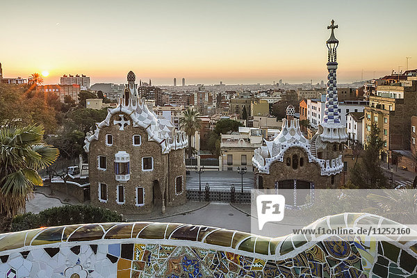 Park Guell with city skyline behind at sunrise  Barcelona  Catalonia  Spain
