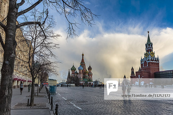 Russia  Moscow  Red Square  Kremlin  St. Basils Cathedral and Kremlin Spasskaya Tower