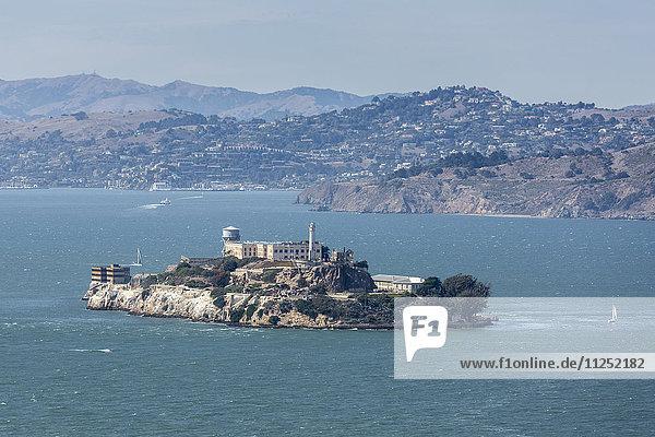 Alcatraz Island in the bay of San Francisco  Marin County  California  USA.