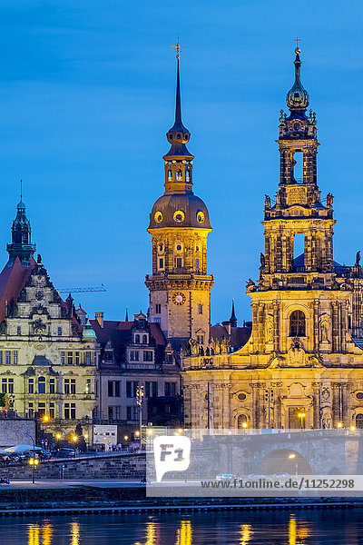 Germany  Saxony  Dresden  Altstadt (Old Town). Dresden skyline  historic buildings along the Elbe River at night.