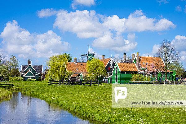 Netherlands  North Holland  Zaandam. Historic windmills and houses in the village of Zaanse Schans.