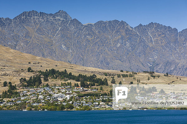 New Zealand  South Island  Otago  Queenstown  town view with The Remarkables Mountains