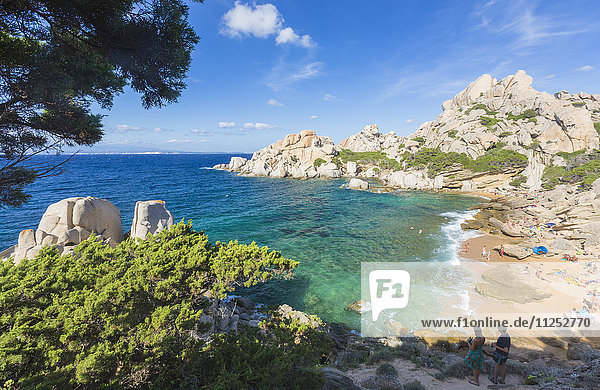 The turquoise sea and sandy beach surrounded by cliffs  Capo Testa  Santa Teresa di Gallura  Province of Sassari  Sardinia  Italy  Mediterranean  Europe