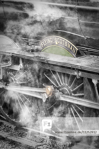The Flying Scotsman steam locomotive arriving at Goathland station on the North Yorkshire Moors Railway  Yorkshire  England  United Kingdom  Europe