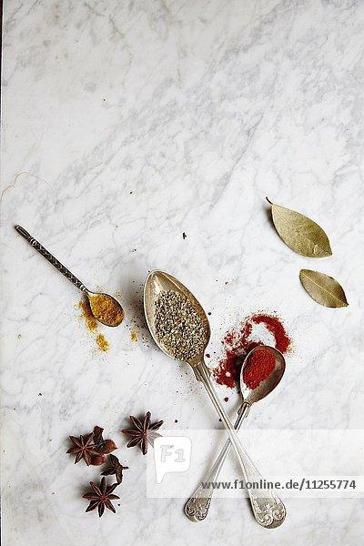 Löffel mit verschiedenen Gewürzen auf Marmoruntergrund