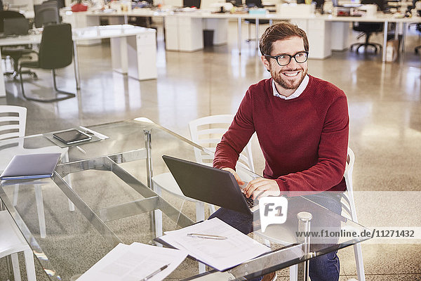 Smiling businessman working at laptop in office