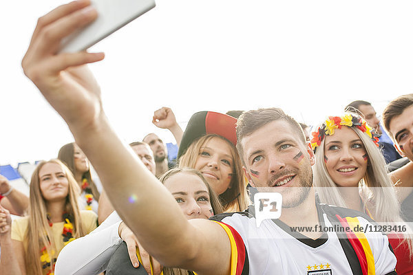 German soccer fans taking a selfie