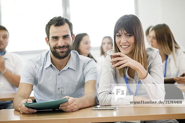 Students in training class taking a break