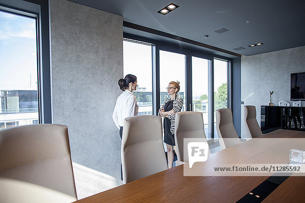 Two businesswomen talking in board room