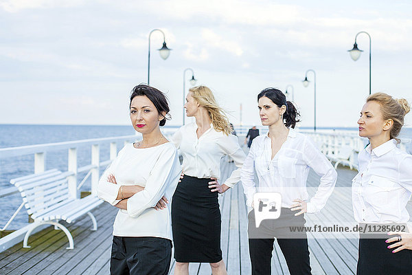 Group of businesswomen posing on jetty