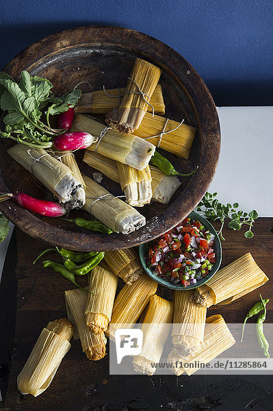 Radishes and tamales