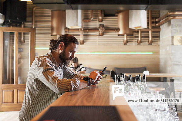 Man at bar counter in coffee shop using smart phone