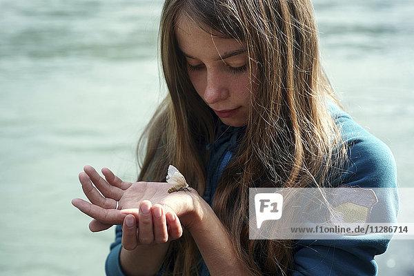 Caucasian girl watching moth on hand Caucasian girl watching moth on hand