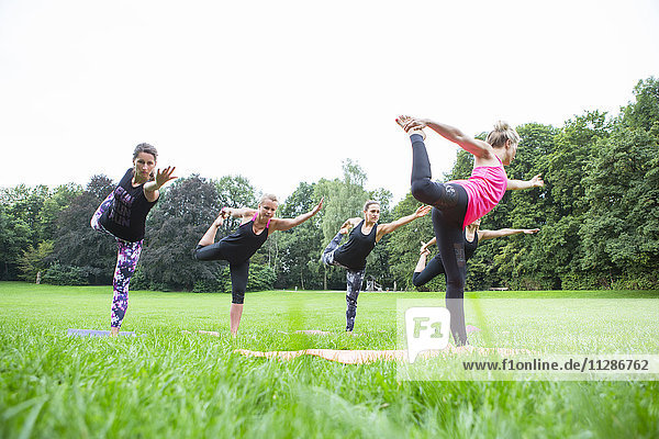Group of young women practicing yoga in park