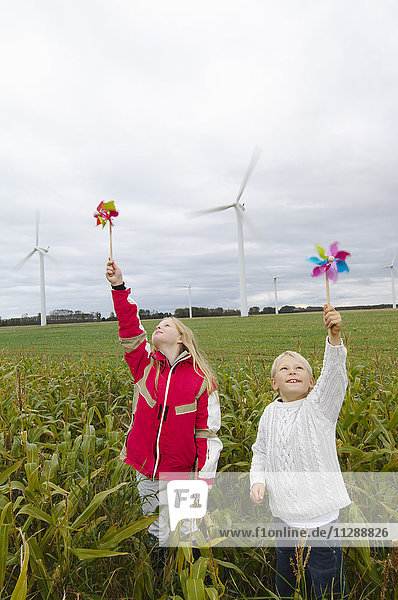 Children with Pinwheels