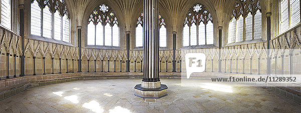Panoramic View of Chapter House in Wells Cathedral  Wells  England  UK