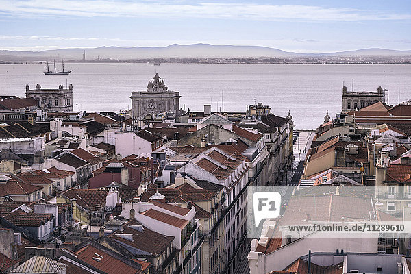 Portugal  Lisbon  cityscape with Tejo River in the background