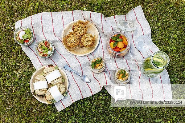 Picknick mit vegetarischen Snacks auf der Wiese
