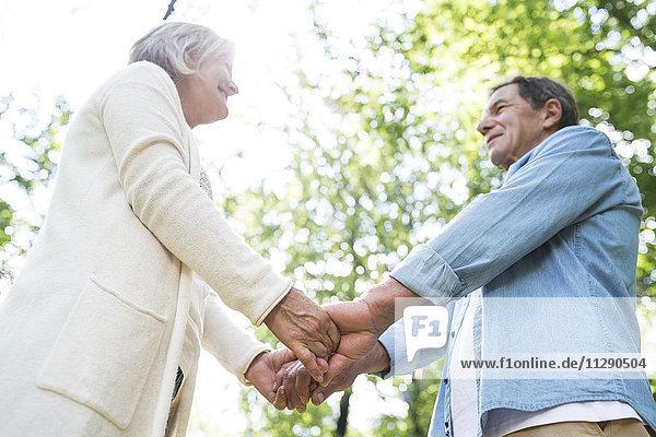 Fröhliches Seniorenpaar  das in der Natur von Angesicht zu Angesicht Händchen hält.