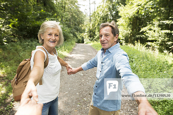 Seniorenpaar hält Hände mit dritter Person auf Waldweg