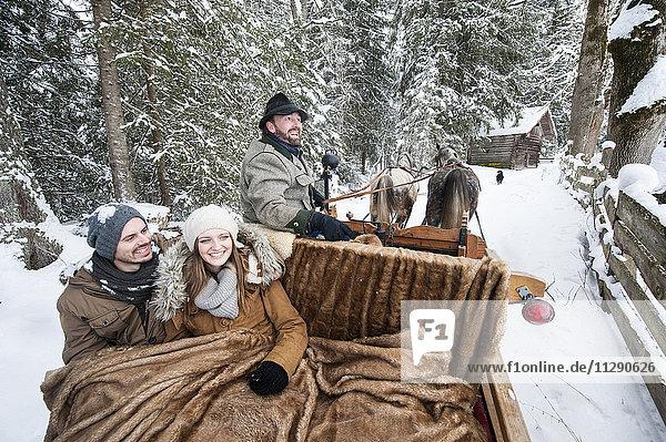 Paar genießt eine Fahrt im Pferdeschlitten im Winter