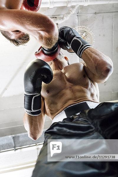 Niedriger Blickwinkel auf den Boxer  der den Gegner trifft