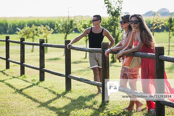Drei Freunde am Holzzaun stehend