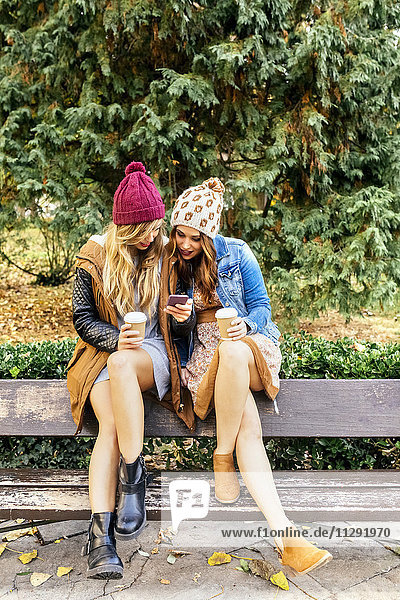 Two young women with smartphone in a park in autumn