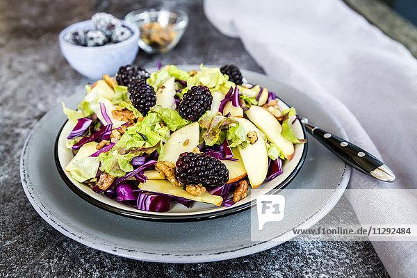 Salatschüssel mit Salat  Rotkohl  Brombeeren  Apfel und Walnüssen