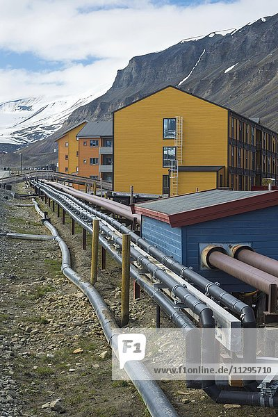 Pipes running through Longyearbyen  Spitsbergen Island  Svalbard Archipelago  Norway  Europe