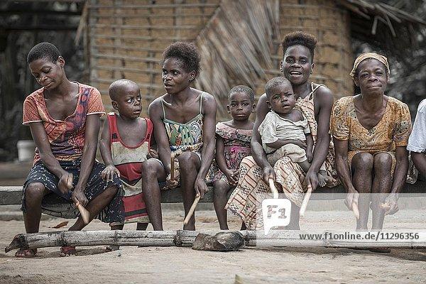 Pygmies  people of Baaka  or Baka  or Ba'aka  Music Performance and Dance  Grand Batanga  Southern Region  Cameroon  Africa