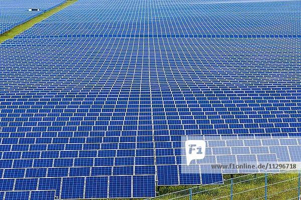 Viele Photovoltaik Solar-Panels  Detail eines großen Solarkraftwerks  Buckendorf  Bayern  Deutschland  Europa