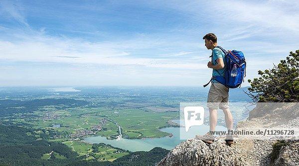 Wanderer auf einem Wanderweg  Blick in die Ferne  mit Kochelsee  Gratwanderung Herzogstand-Heimgarten  Oberbayern  Bayern  Deutschland  Europa