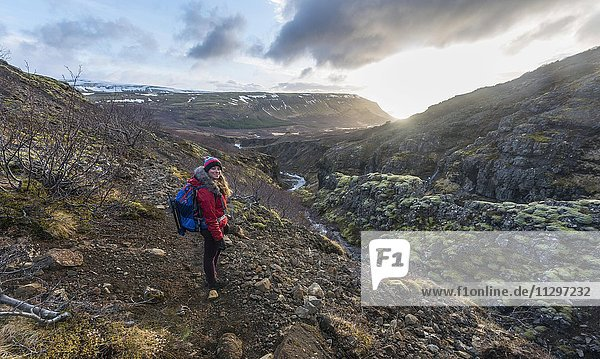 Young woman on hiking trail  Canyon of Glymur  Hvalfjarðarsveit  Western Region  Iceland  Europe