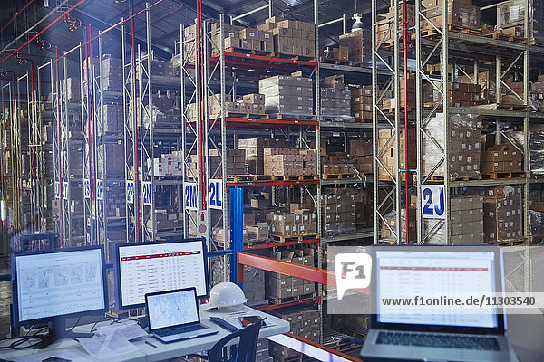 Laptops and computers in distribution warehouse