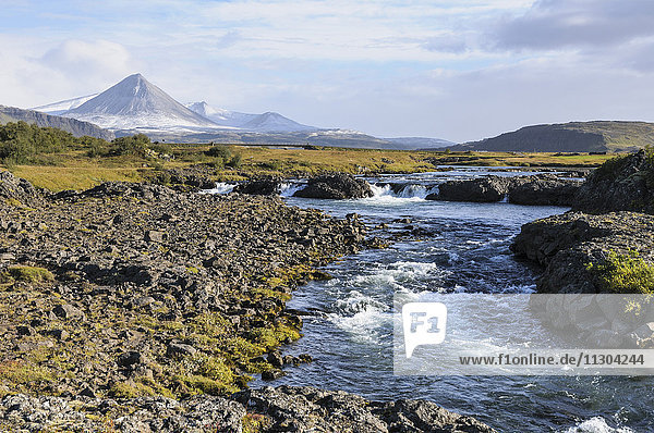 The river Nordura and the volcano Baula in west Iceland.