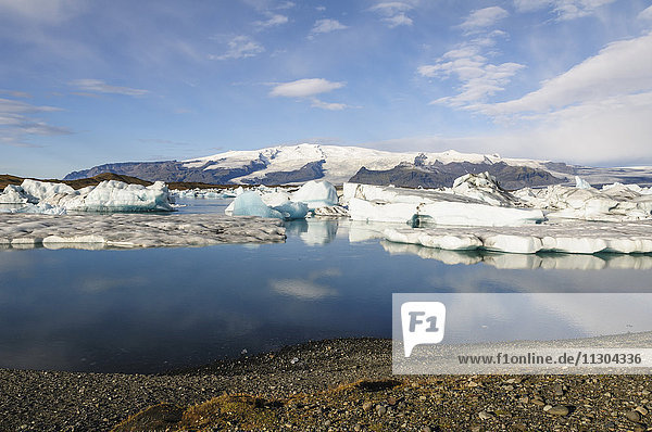 Glacial lake Jökulsarlon with icebergs in south Iceland.