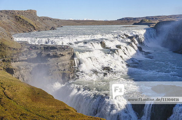 Waterfall Gullfoss and river Hvita in southwest Iceland.