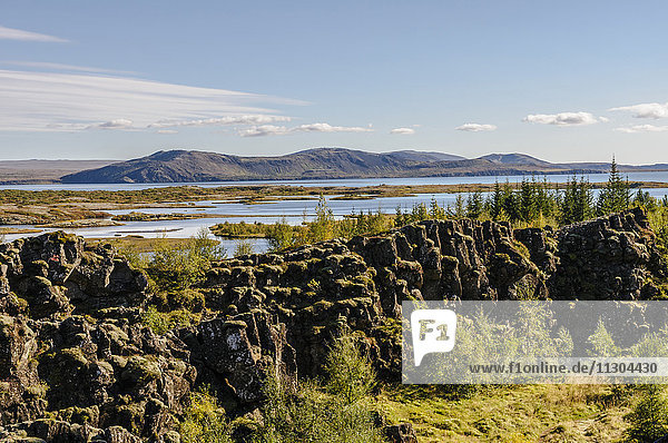 National park Pingvellir and Pingvallavatn  the largest lake of Iceland.