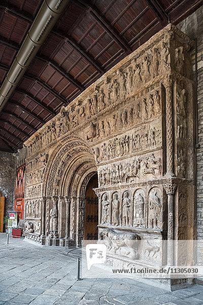 Spain  Catalonia  Girona Province  Ripoll City  Santa Maria de Ripoll Monastery 7th Century  Catalan Romanic Portico