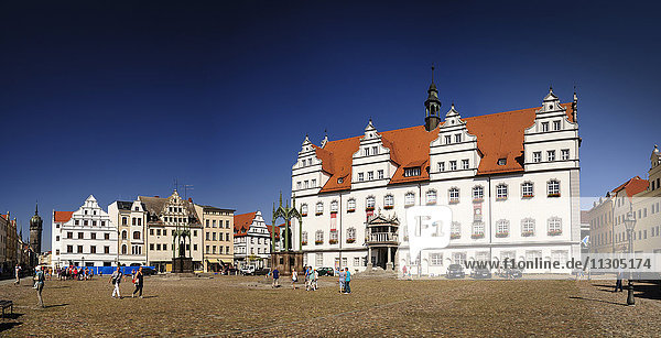 Germany  Lutherstadt Wittenberg  view town hall at market square
