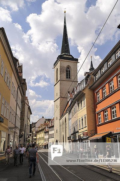 Germany  Erfurt  view through Marktstrasse to St Giles Church