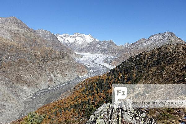 Switzerland  Europe  Valais  Bettmeralp  mountains  autumn  glacier  Aletsch glacier