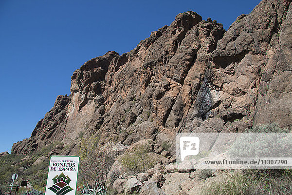 Gran Canaria  Canary islands  Spain  Europe  La Plata  cliff  rocks  mountains  vegetation  volcanical
